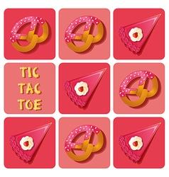 Tic-tac-toe cake and pretzel vector