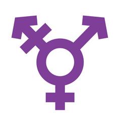 Transgender symbol in simple outline violet color vector
