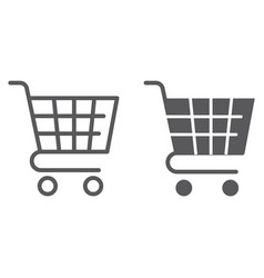 trolley line and glyph icon shop and market cart vector image