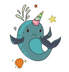 unicorn narwhal fantasy creature vector image