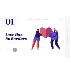 valentines day dating website landing page loving vector image
