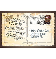 Vintage Postacard for Christmas greetings cards vector