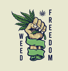 weed freedom vintage mascot vector image