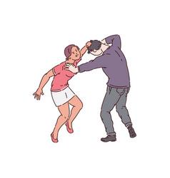 Woman attacking a man hair pulling and bullying vector