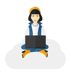 Woman sitting with laptop vector