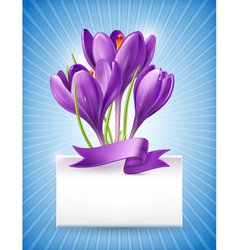 Bouquet of spring flowers with a note vector image