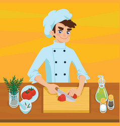happy young cook slicing tomato on chopping board vector image