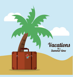Vacations summer time beach suitcase palm vector