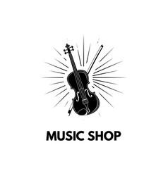 violin in beams icon violin with bow vector image