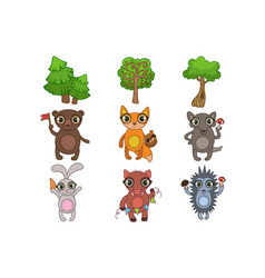 friendly forest animals set vector image vector image