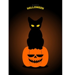 Happy Halloween Black cat sits on pumpkin at night vector image