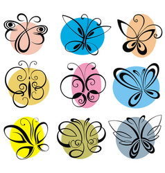 colorful silhouette of butterflies vector image