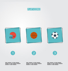 flat icons basket ball rugby and other vector image vector image