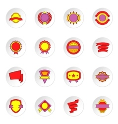 Label and ribbon icons set flat style vector image vector image