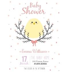 Romantic baby shower card for little girl vector image