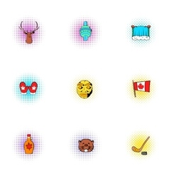 Tourism in Canada icons set pop-art style vector image vector image