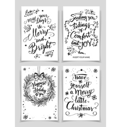 Christmas calligraphy greeting cards set vector image vector image