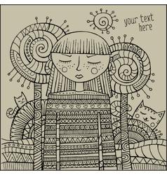 decorative cartoon winter girl sketch vector image