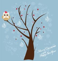 snow fun owl vector image vector image