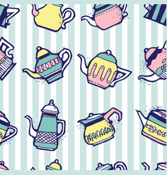 vintage tea pots seamless pattern vector image vector image