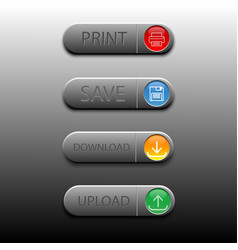 4 buttom save print upload download vector