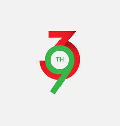 93 th anniversary template design vector