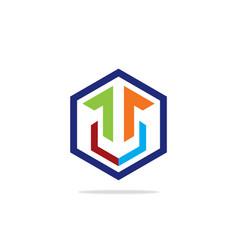 abstract shape polygon technology logo vector image