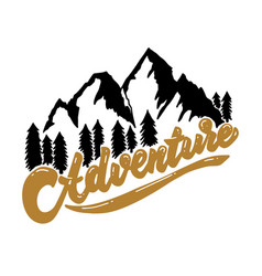 Adventure hand drawn lettering with mountains vector