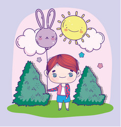 Anime cute boy with balloon shaped rabbit outdoor vector