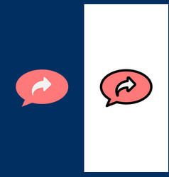 Basic chat arrow right icons flat and line filled vector