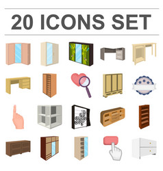 bedroom furniture cartoon icons in set collection vector image