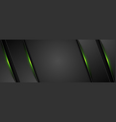 black abstract tech background with green glowing vector image