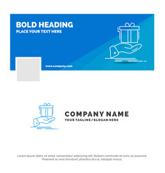 blue business logo template for gift surprise vector image
