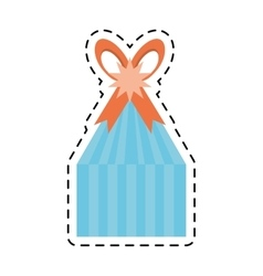 Blue gift box stripes star ribbon line dotted vector