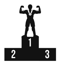 Bodybuilder on winner podium black icon vector