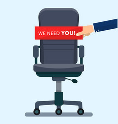 Business chair with hand holding cardboard vector