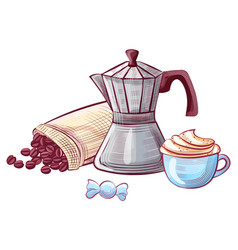Cappuccino and kettle coffee beans sweet vector
