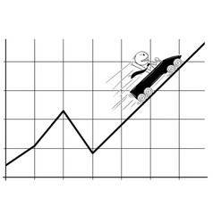 cartoon of businessman moving in roller coaster vector image