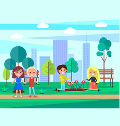 Children caring for nature vector