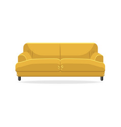 classic sofa isolated comfortable yellow couch vector image