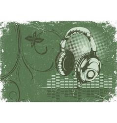 concert poster with headphones vector image