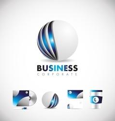 Corporate sphere 3d blue logo icon design vector