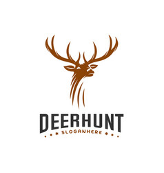 deer hunt logo template elegant deer head logo vector image
