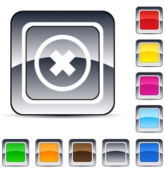 Delete cross square button vector image