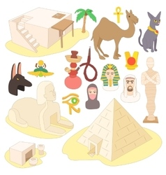Egypt icons set cartoon style vector image