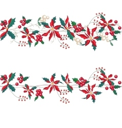 Endless horizontal pattern brush with Christmas vector image