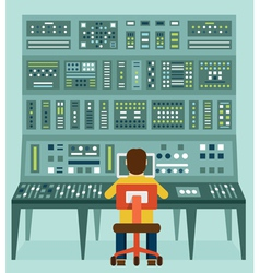 Expert with control panel Analytics and management vector image