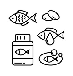 fish oil icon set vector image