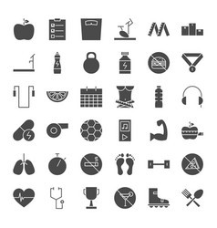 Fitness dieting solid web icons vector