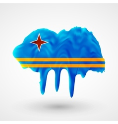 Flag of Aruba painted colors vector